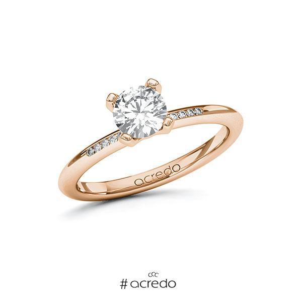 Verlobungsring in Rotgold 585 mit 0,7 ct. + zus. 0,05 ct. Brillant tw, si von acredo