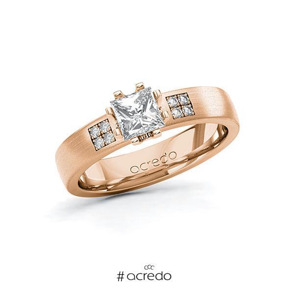 Verlobungsring in Rotgold 585 mit 0,7 ct. + zus. 0,064 ct. Prinzess-Diamant tw, vs tw, si von acredo