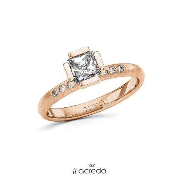 Verlobungsring in Rotgold 585 mit 0,7 ct. + zus. 0,06 ct. Prinzess-Diamant tw, vs tw, si von acredo