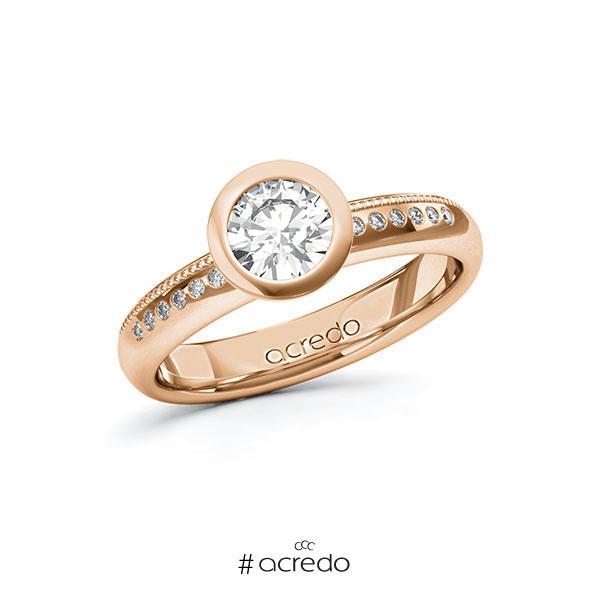 Verlobungsring in Rotgold 585 mit 0,7 ct. + zus. 0,07 ct. Brillant tw, si von acredo