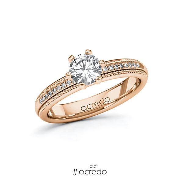 Verlobungsring in Rotgold 585 mit 0,7 ct. + zus. 0,09 ct. Brillant tw, si von acredo