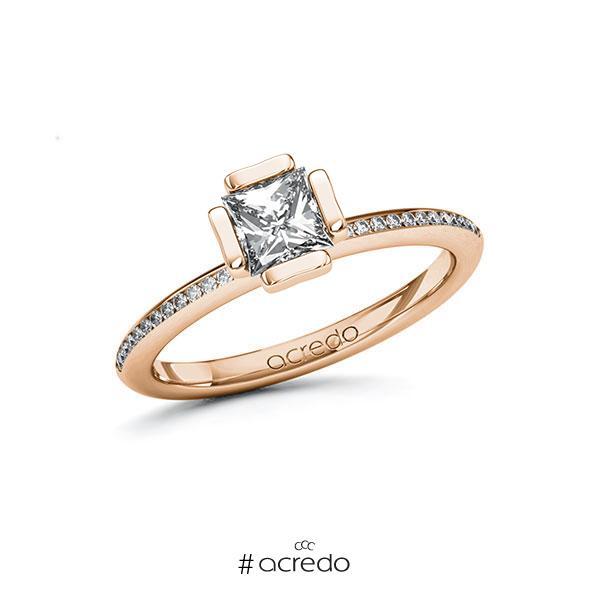 Verlobungsring in Rotgold 585 mit 0,7 ct. + zus. 0,13 ct. Prinzess-Diamant tw, vs tw, si von acredo