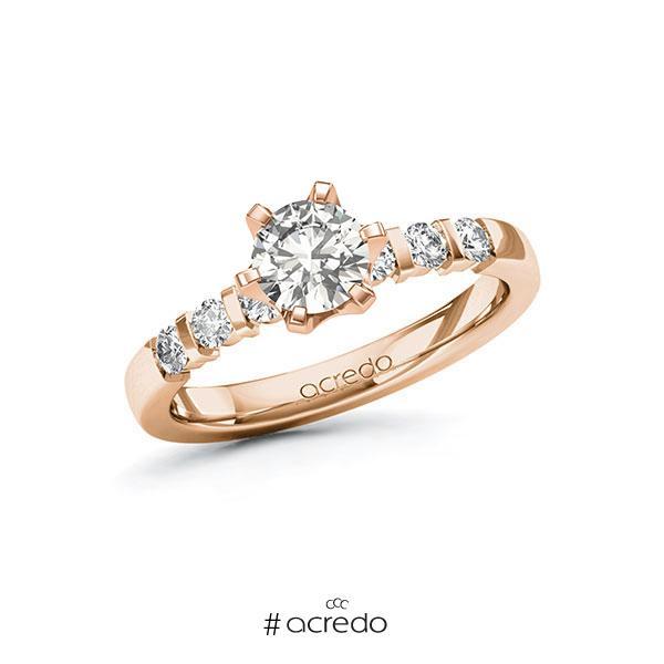 Verlobungsring in Rotgold 585 mit 0,7 ct. + zus. 0,3 ct. tw, si von acredo