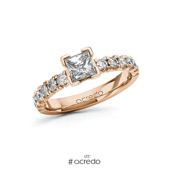 Verlobungsring in Rotgold 585 mit 0,7 ct. + zus. 0,48 ct. Prinzess-Diamant tw, vs tw, si von acredo