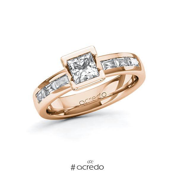 Verlobungsring in Rotgold 585 mit 0,7 ct. + zus. 0,48 ct. Prinzess-Diamant tw, vs von acredo