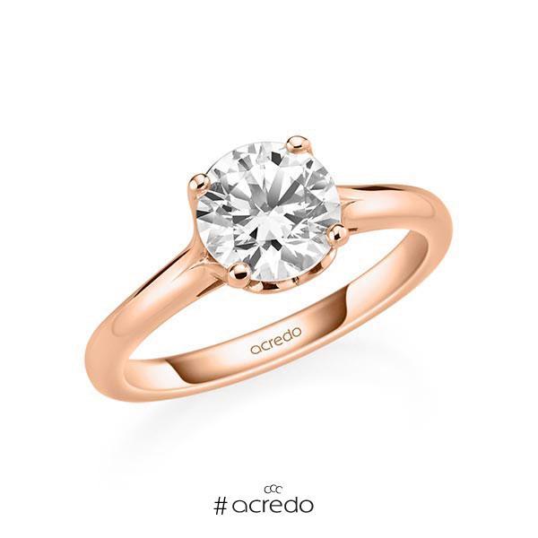 Verlobungsring in Rotgold 585 mit 1,5 ct. Brillant tw, si von acredo