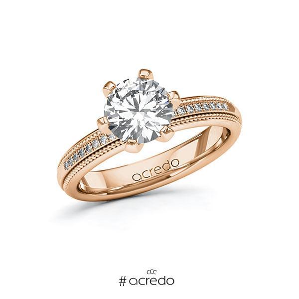 Verlobungsring in Rotgold 585 mit 1,5 ct. + zus. 0,09 ct. Brillant tw, si von acredo