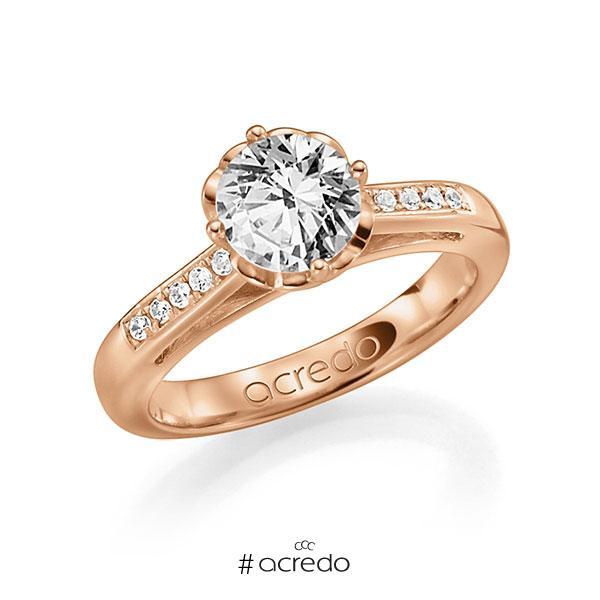 Verlobungsring in Rotgold 585 mit 1 ct. 10 St. zusammen 0,08ct. Brillant w, si tw, si von acredo