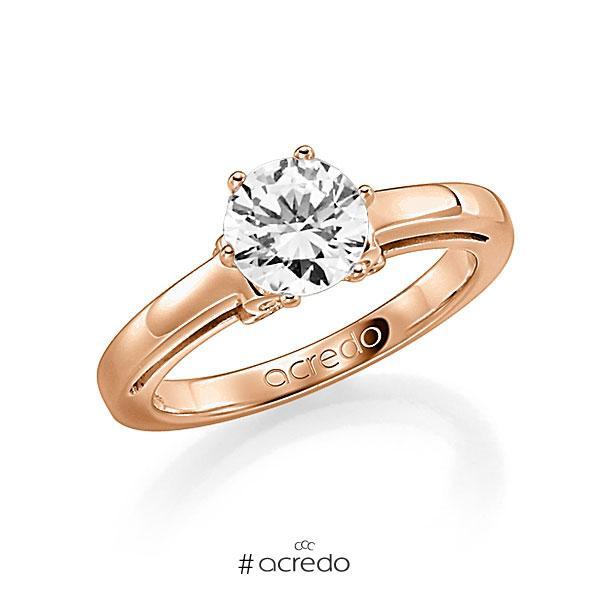 Verlobungsring in Rotgold 585 mit 1 ct. 12 St. zusammen 0,06ct. Brillant w, si tw, si von acredo