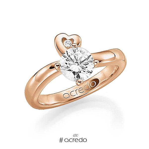 Verlobungsring in Rotgold 585 mit 1 ct. 1 St. zusammen 0,03ct. Brillant w, si tw, si von acredo