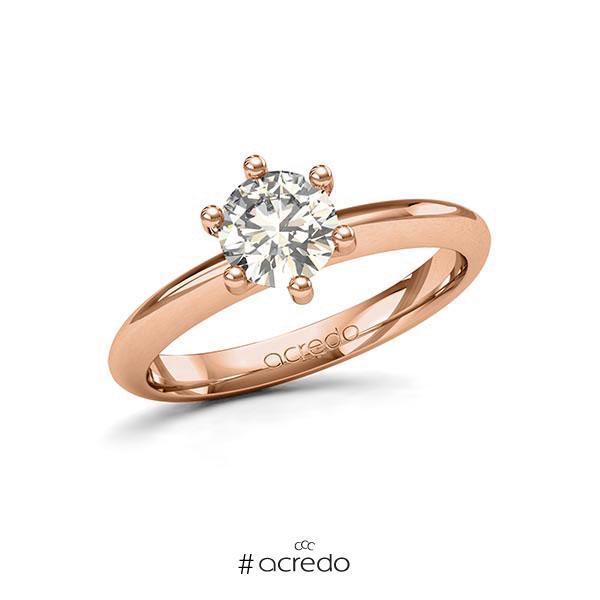 Verlobungsring in Rotgold 585 mit 1 ct. Brillant tw, si von acredo