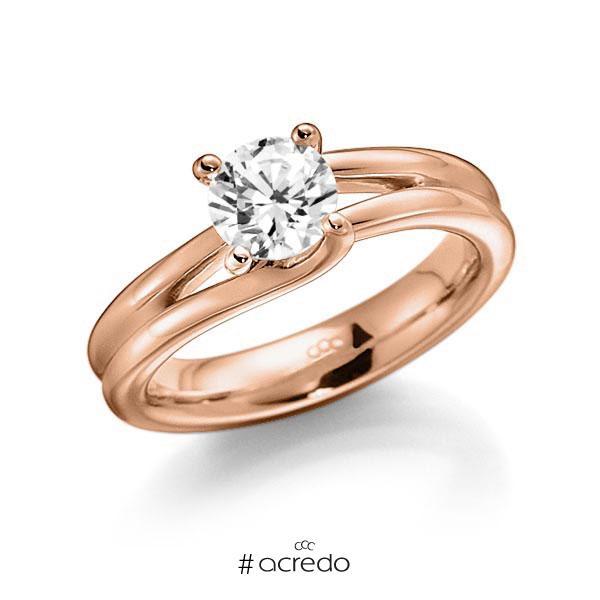 Verlobungsring in Rotgold 585 mit 1 ct. Brillant tw, vs von acredo