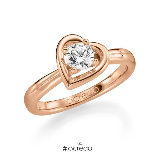 Verlobungsring in Rotgold 585 mit 1 ct. Brillant w, si von acredo
