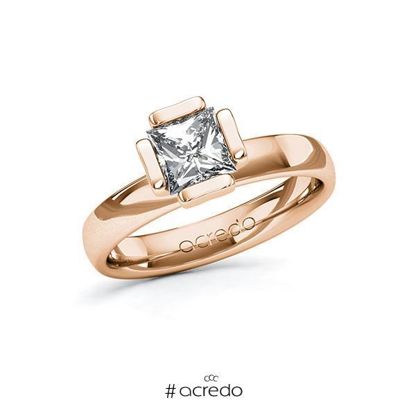 Verlobungsring in Rotgold 585 mit 1 ct. Prinzess-Diamant tw, vs von acredo