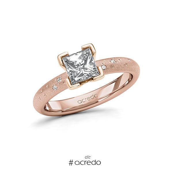 Verlobungsring in Rotgold 585 mit 1 ct. + zus. 0,03 ct. Prinzess-Diamant tw, vs tw, si von acredo