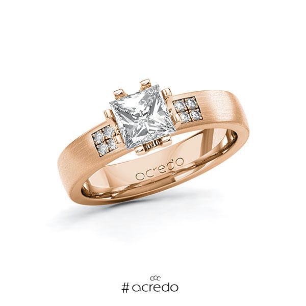 Verlobungsring in Rotgold 585 mit 1 ct. + zus. 0,064 ct. Prinzess-Diamant tw, vs tw, si von acredo