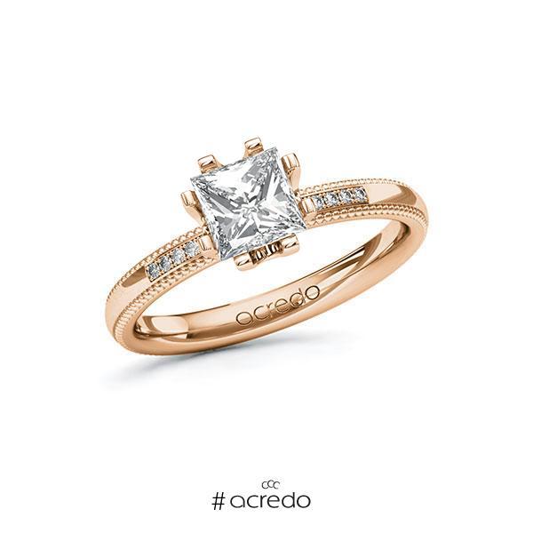 Verlobungsring in Rotgold 585 mit 1 ct. + zus. 0,06 ct. Prinzess-Diamant tw, vs tw, si von acredo