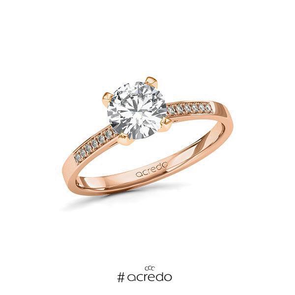 Verlobungsring in Rotgold 585 mit 1 ct. + zus. 0,07 ct. Brillant tw, si von acredo