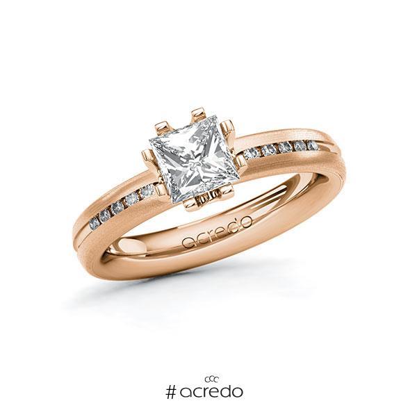 Verlobungsring in Rotgold 585 mit 1 ct. + zus. 0,08 ct. Prinzess-Diamant tw, vs tw, si von acredo