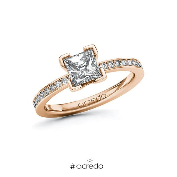 Verlobungsring in Rotgold 585 mit 1 ct. + zus. 0,2 ct. Prinzess-Diamant tw, vs tw, si von acredo