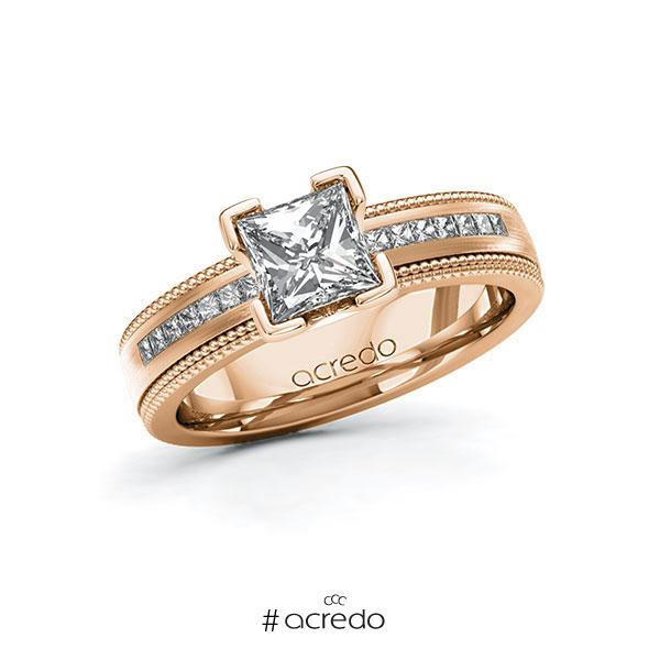Verlobungsring in Rotgold 585 mit 1 ct. + zus. 0,42 ct. Prinzess-Diamant tw, vs tw, si von acredo
