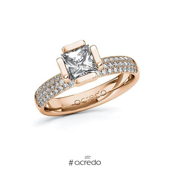 Verlobungsring in Rotgold 585 mit 1 ct. + zus. 0,432 ct. Prinzess-Diamant tw, vs tw, si von acredo