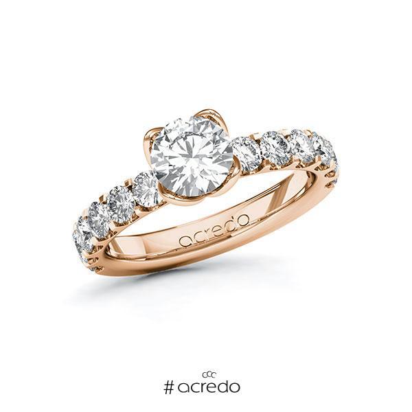 Verlobungsring in Rotgold 585 mit 1 ct. + zus. 1,08 ct. Brillant tw, si von acredo