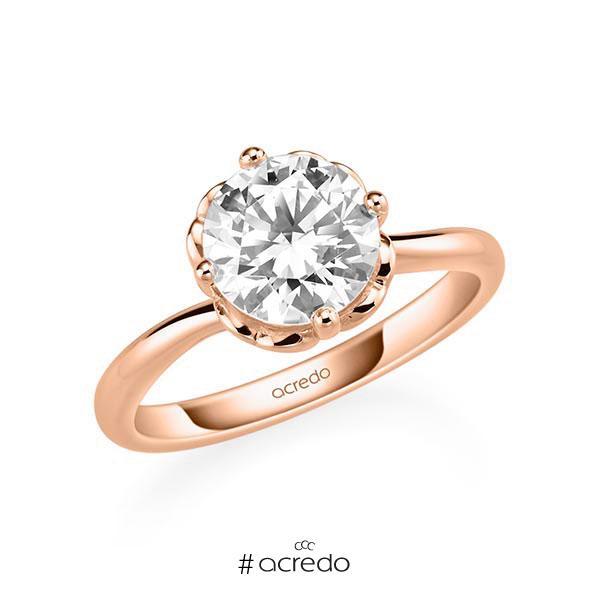 Verlobungsring in Rotgold 585 mit 2 ct. Brillant tw, si von acredo