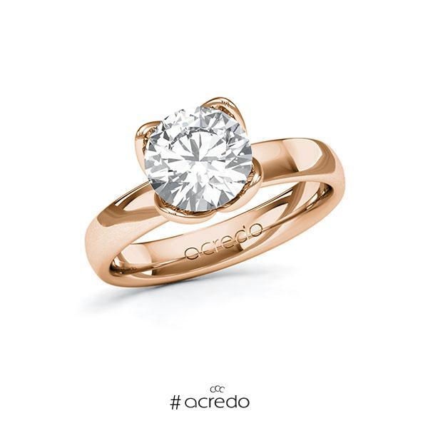 Verlobungsring in Rotgold 585 mit 2 ct. Brillant tw, vs von acredo
