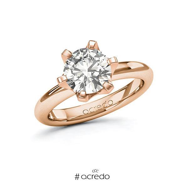 Verlobungsring in Rotgold 585 mit 2 ct. tw, vs von acredo