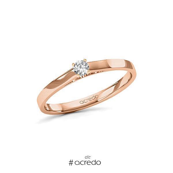 Verlobungsring in Rotgold 585 mit zus. 0,12 ct. Brillant tw, si von acredo