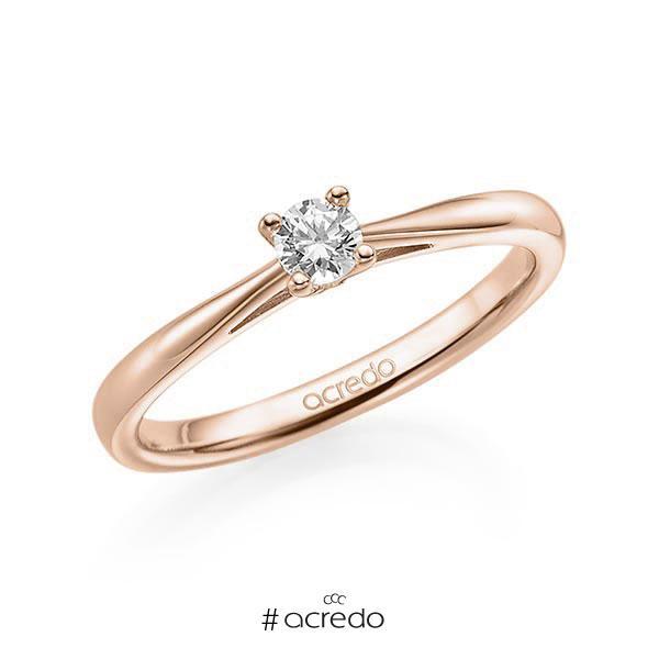Verlobungsring in Rotgold 585 mit zus. 0,15 ct. Brillant tw, si von acredo