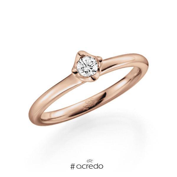 Verlobungsring in Rotgold 585 mit zus. 0,15 ct. Brillant tw, vs von acredo