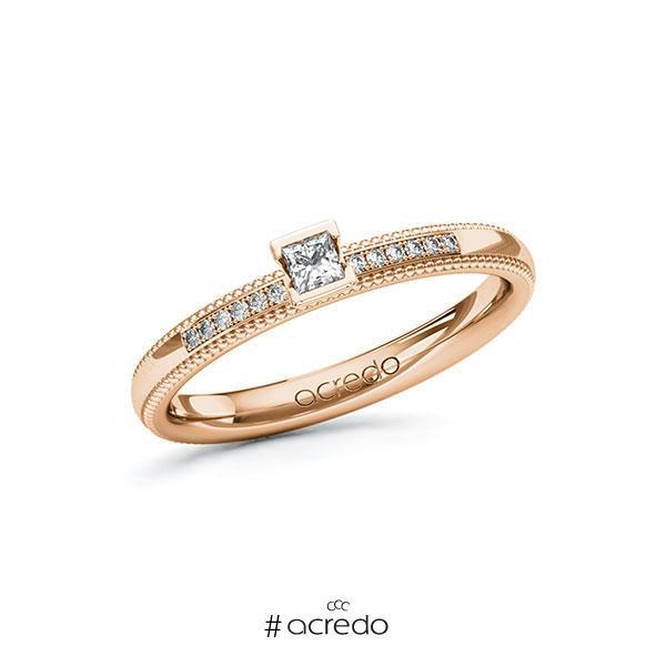 Verlobungsring in Rotgold 585 mit zus. 0,16 ct. Prinzess-Diamant tw, si von acredo