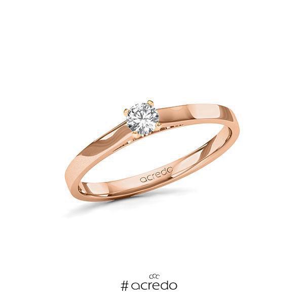 Verlobungsring in Rotgold 585 mit zus. 0,17 ct. Brillant tw, si von acredo