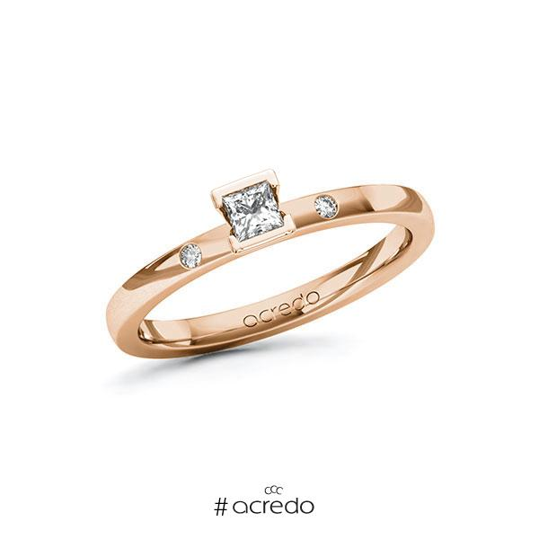 Verlobungsring in Rotgold 585 mit zus. 0,17 ct. Prinzess-Diamant tw, si von acredo