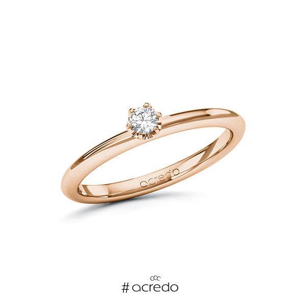 Verlobungsring in Rotgold 585 mit zus. 0,1 ct. Brillant tw, si von acredo