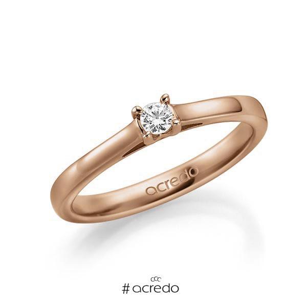 Verlobungsring in Rotgold 585 mit zus. 0,1 ct. Brillant tw, vs von acredo