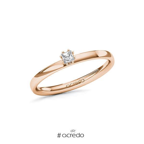 Verlobungsring in Rotgold 585 mit zus. 0,1 ct. Prinzess-Diamant tw, vs von acredo