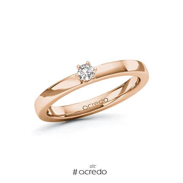 Verlobungsring in Rotgold 585 mit zus. 0,1 ct. tw, si von acredo
