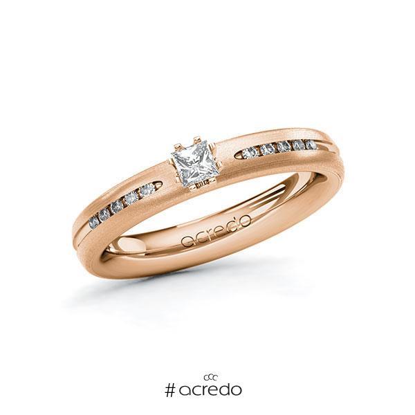 Verlobungsring in Rotgold 585 mit zus. 0,23 ct. Prinzess-Diamant tw, si von acredo