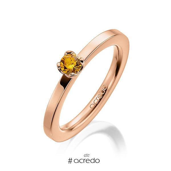 Verlobungsring in Rotgold 585 mit zus. 0,25 ct. Brillant Saphir Gelb (A 8) von acredo