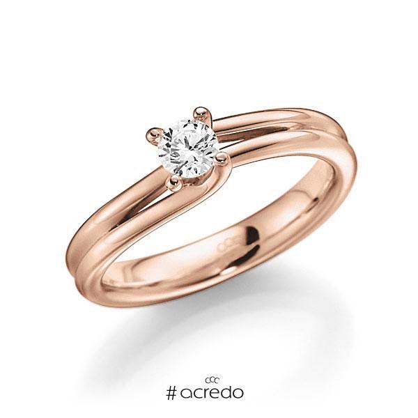 Verlobungsring in Rotgold 585 mit zus. 0,25 ct. Brillant tw, vs von acredo