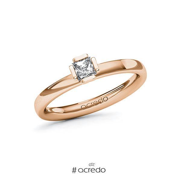 Verlobungsring in Rotgold 585 mit zus. 0,25 ct. Prinzess-Diamant tw, si von acredo