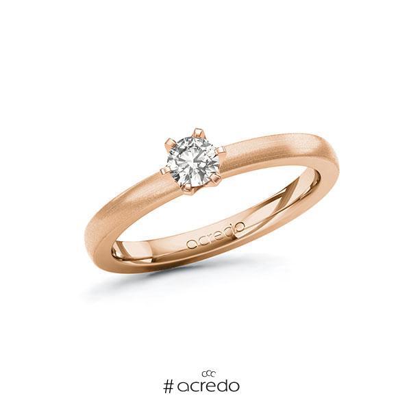 Verlobungsring in Rotgold 585 mit zus. 0,25 ct. tw, si von acredo