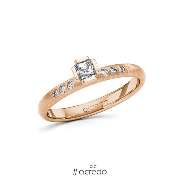Verlobungsring in Rotgold 585 mit zus. 0,26 ct. Prinzess-Diamant tw, vs tw, si von acredo