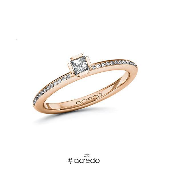 Verlobungsring in Rotgold 585 mit zus. 0,28 ct. Prinzess-Diamant tw, si von acredo