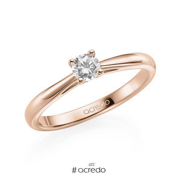 Verlobungsring in Rotgold 585 mit zus. 0,2 ct. Brillant tw, si von acredo
