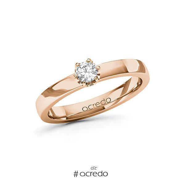 Verlobungsring in Rotgold 585 mit zus. 0,2 ct. Brillant tw, vs von acredo