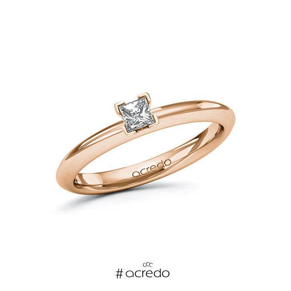 Verlobungsring in Rotgold 585 mit zus. 0,2 ct. Prinzess-Diamant tw, si von acredo